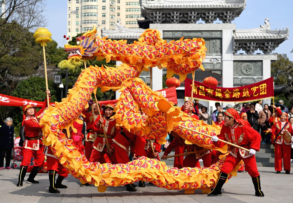 NANCHANG, Feb. 28, 2017 - People perform dragon dance in Nanchang, capital of east China's Jiangxi Province, Feb. 27, 2017. Er Yue Er fell on Feb. 27 this year. Chinese people call it the day when ...