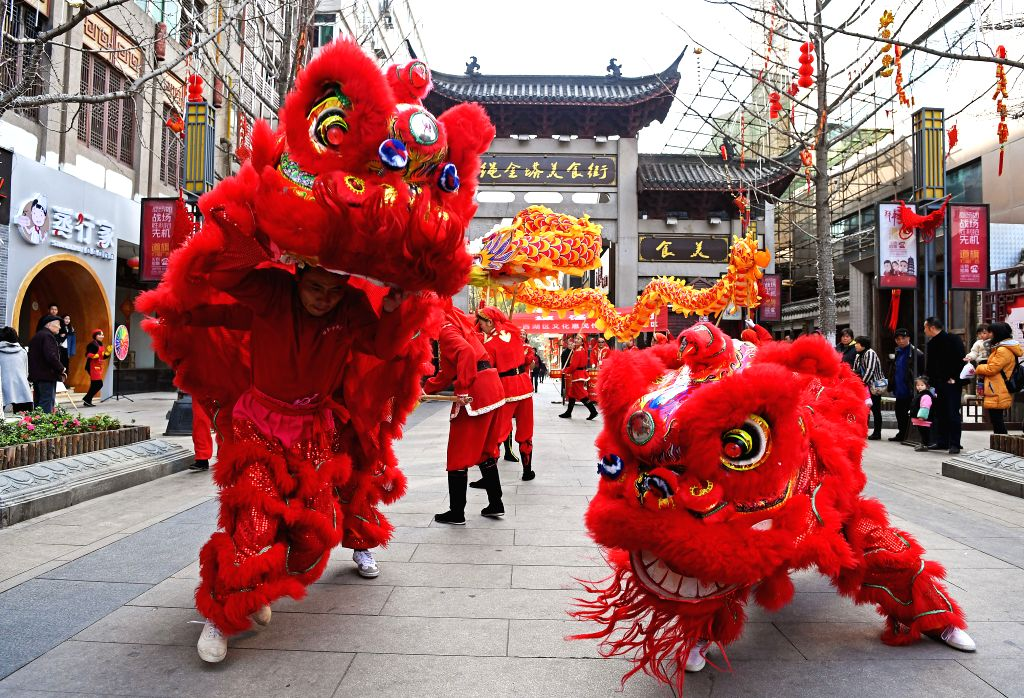 NANCHANG, Feb. 28, 2017 - People perform lion dance in Nanchang, capital of east China's Jiangxi Province, Feb. 27, 2017. Er Yue Er fell on Feb. 27 this year. Chinese people call it the day when the ...