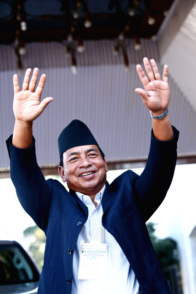 Nanda Kishor Pun, strong candidate for vice president of Nepal and a standing committee member of the Unified Communist Party of Nepal (Maoist) waves his hands ...
