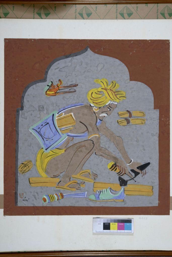Nandalal Bose, Haripura Congress Panel Cobbler, 1937, Tempera on Paper. (Image Courtesy and collection: National Gallery of Modern Art, New Delhi) - Nandalal Bose
