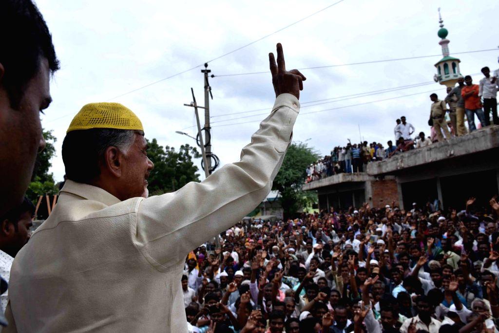 Nandyal : Andhra Pradesh Chief Minister N. Chandrababu Naidu participates in an election campaign ahead of bypolls to Nandyal assembly constituency in Nandyal, Andhra Pradesh on Aug 19, 2017. - N. Chandrababu Naidu