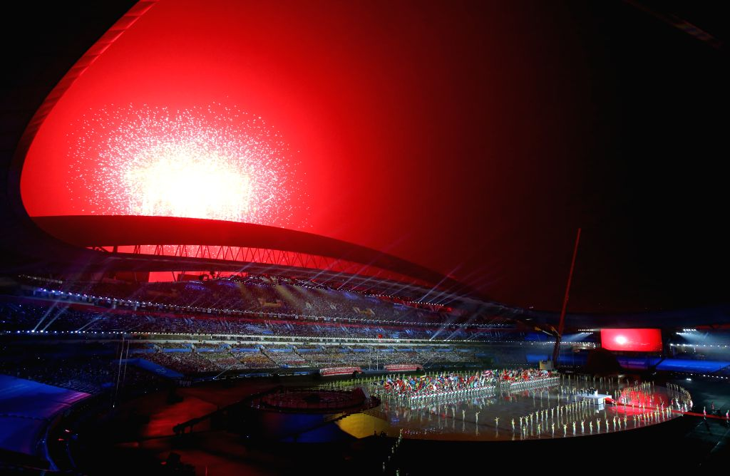 Fireworks explode during the opening ceremony of Nanjing 2014 Youth Olympic Games in Nanjing, capital of east China?s Jiangsu Province, Aug. 16, 2014.