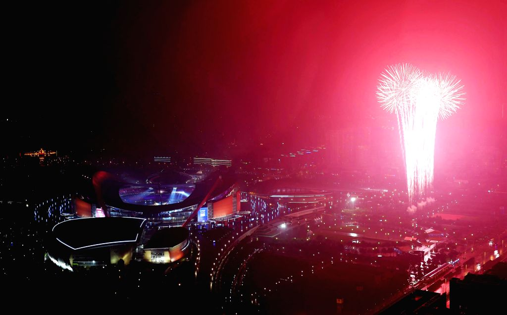 Fireworks explode at the Opening Ceremony of the Nanjing 2014 Youth Olympic Games in Nanjing, capital of east China's Jiangsu Province.