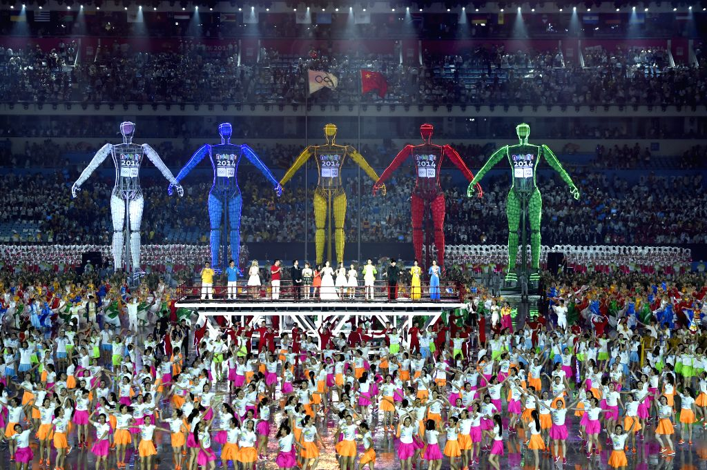 Photo taken on Aug.  16, 2014 shows the scene of the Nanjing 2014 Youth Olympic Games  opening ceremony in Nanjing, capital of east China?s Jiangsu  Province.