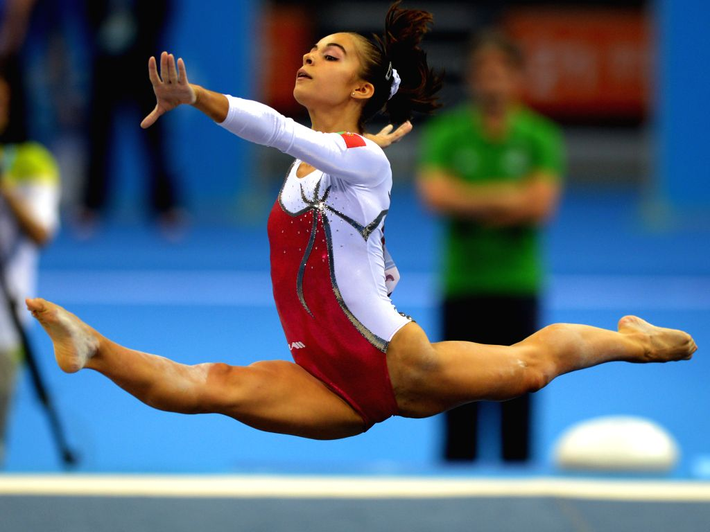 Sara Sequeira Raposeiro of Portugal performs during the  Women's qualification of Artistic Gymnastics at the Nanjing 2014 Youth  Olympic Games in Nanjing, east ...