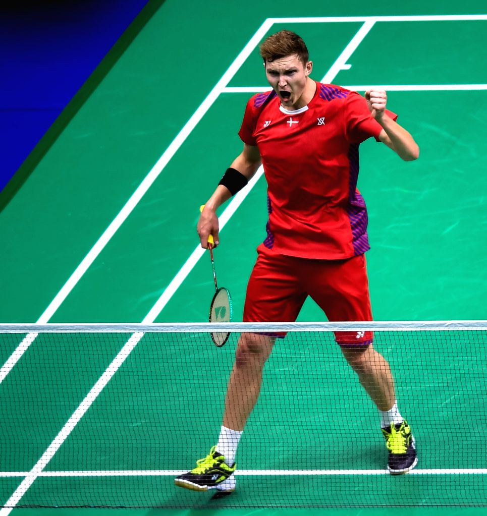 NANJING, Aug. 2, 2018 - Viktor Axelsen of Denmark reacts during the men's singles third round match against Ng Ka Long Angus from Hong Kong of China at the BWF (Badminton World Federation) World ...