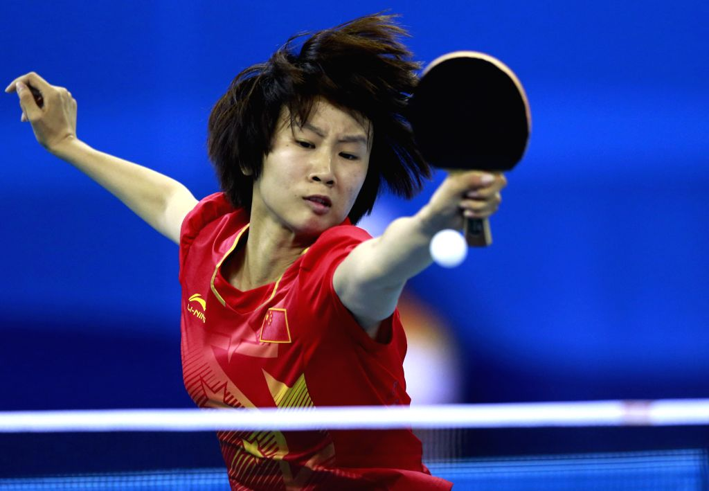 Liu Gaoyang of People?s Republic of China competes during the Women?s Singles Table Tennis competition at Nanjing 2014 Youth Olympic Games in Nanjing, capital of ...