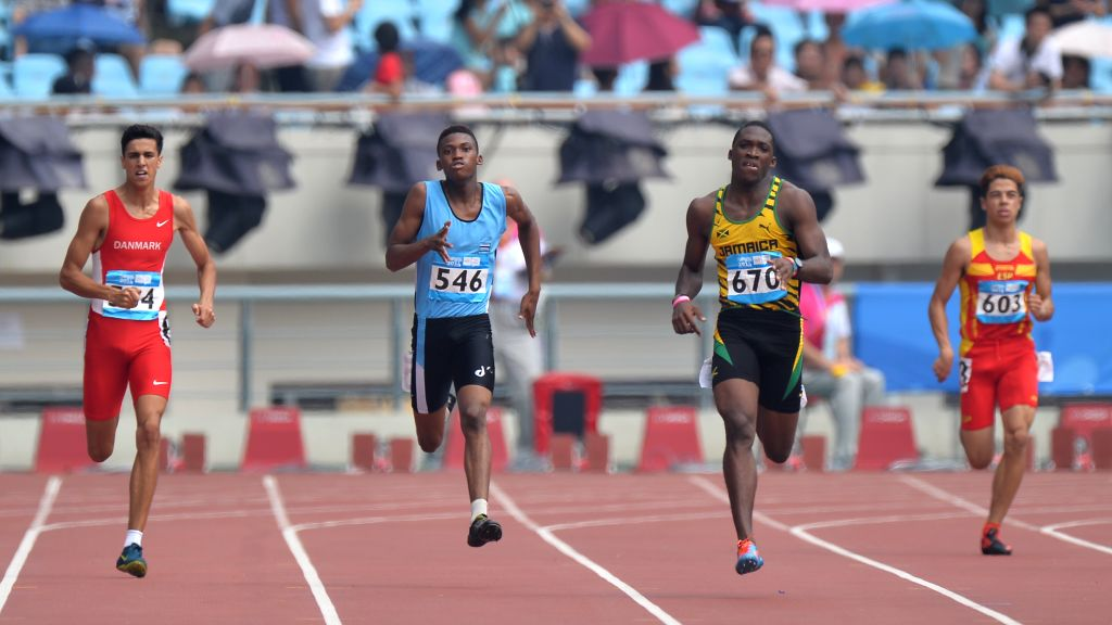 Gold Medalist Martin Manley during the men`s 400m Final of athletics event of athletics event at the Nanjing 2014 Youth Olympic Games in Nanjing, capital of east ..