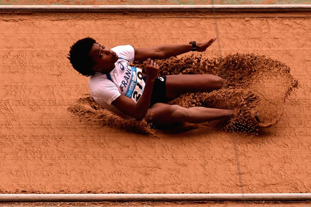 Gold Medalist Yanis Esmeralda David of France competes in the Women?s Triple Jump of athletics event at the Nanjing 2014 Youth Olympic Games in Nanjing, capital of