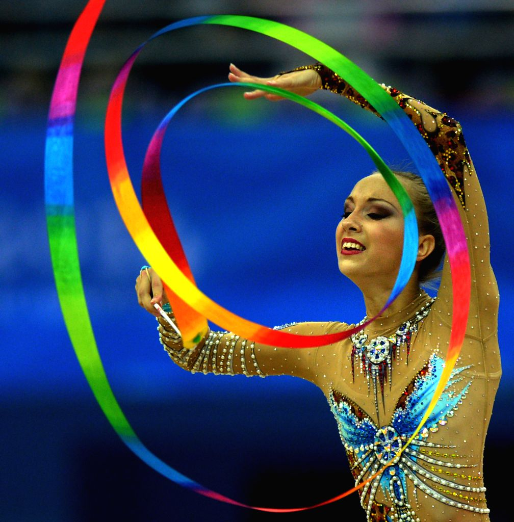 Irina Annenkova of Russian Federation competes during the Individual All-Around Final of Rhythmic Gymnastics at the Nanjing 2014 Youth Olympic Games in Nanjing, ...