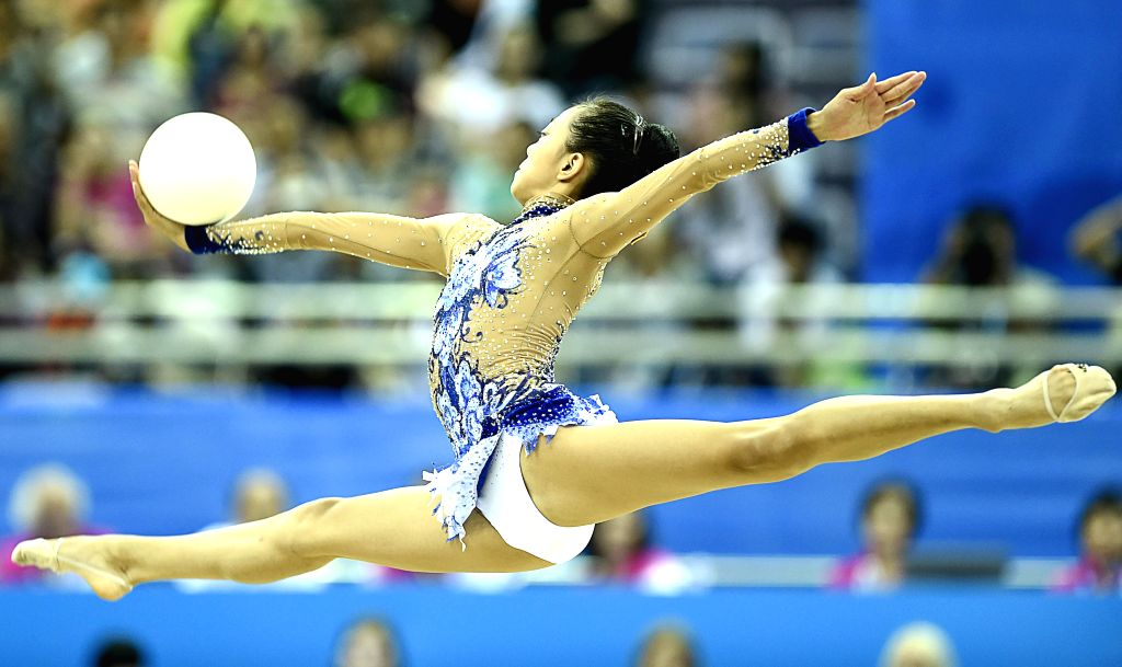 Laura Zeng of the United States competes during the Individual All-Around Final of Rhythmic Gymnastics at the Nanjing 2014 Youth Olympic Games in Nanjing, capital ..