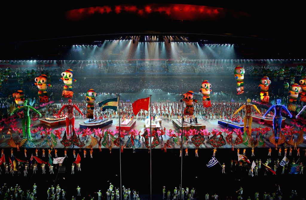 The photo taken on Aug. 28, 2014 shows the closing ceremony of Nanjing 2014 Youth Olympic Games in Nanjing, capital of east China?s Jiangsu Province.(Xinhua/Chen ...