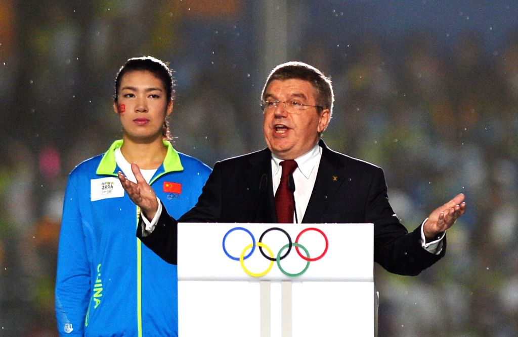 The President of the International Olympic Committee Thomas Bach speaks during the closing ceremony of Nanjing 2014 Youth Olympic Games in Nanjing, capital of east ..