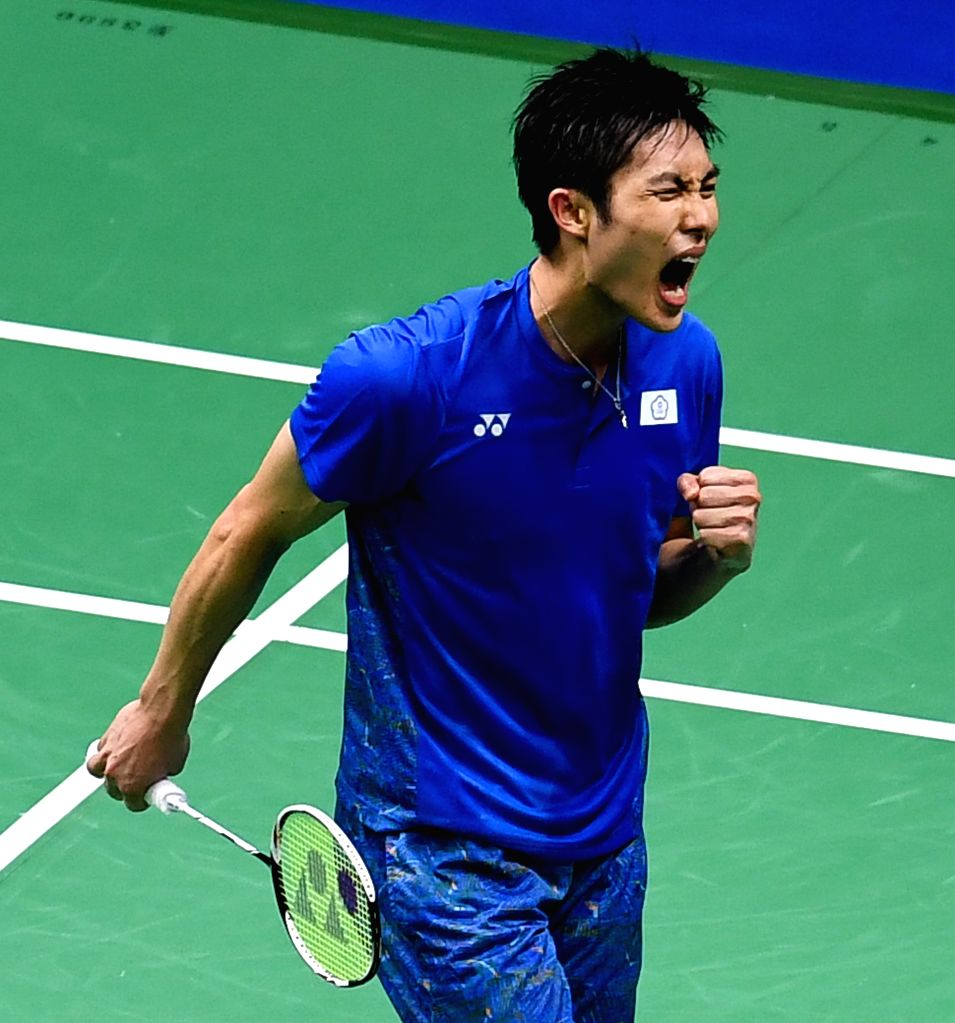 NANJING, Aug. 3, 2018 - Chou Tien Chen of Chinese Taipei celebrates during the men's singles quarterfinal match against Shi Yuqi of China at the BWF (Badminton World Federation) World Championships ...