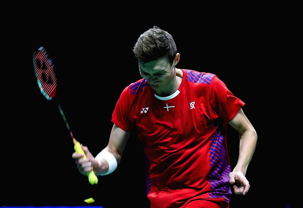 NANJING, Aug. 3, 2018 - Viktor Axelsen of Denmark reacts during the men's singles quarterfinal match against Chen Long of China at the BWF (Badminton World Federation) World Championships 2018 in ...