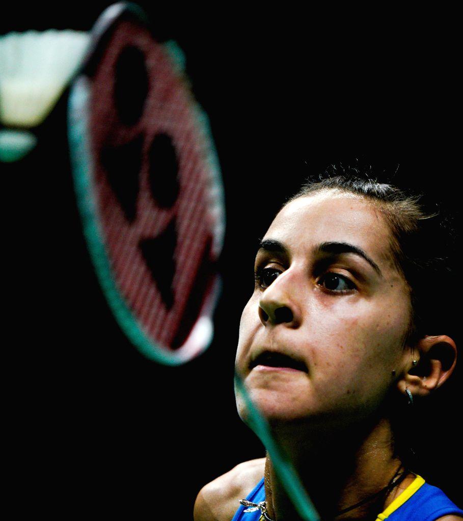 NANJING, Aug. 4, 2018 - Carolina Marin of Spain returns the shuttlecock during the women's singles semifinal match against He Bingjiao of China at the BWF (Badminton World Federation) World ...