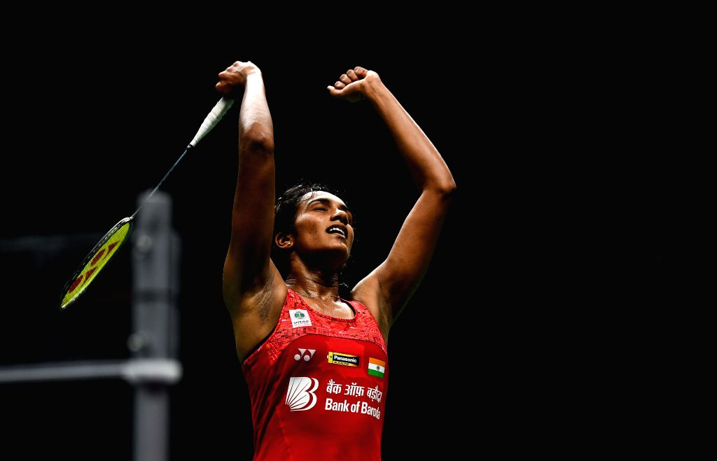 NANJING, Aug. 4, 2018 - Pusarla V. Sindhu of India celebrates after winning the women's singles semifinal match against Akane Yamaguchi of Japan at the BWF (Badminton World Federation) World ...