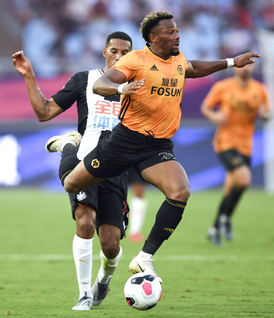 NANJING, July 17, 2019 - Adama Traore (R) of Wolverhampton Wanderers competes during a Premier League Asia Trophy match between Newcastle United and Wolverhampton Wanderers in Nanjing, east China's ...