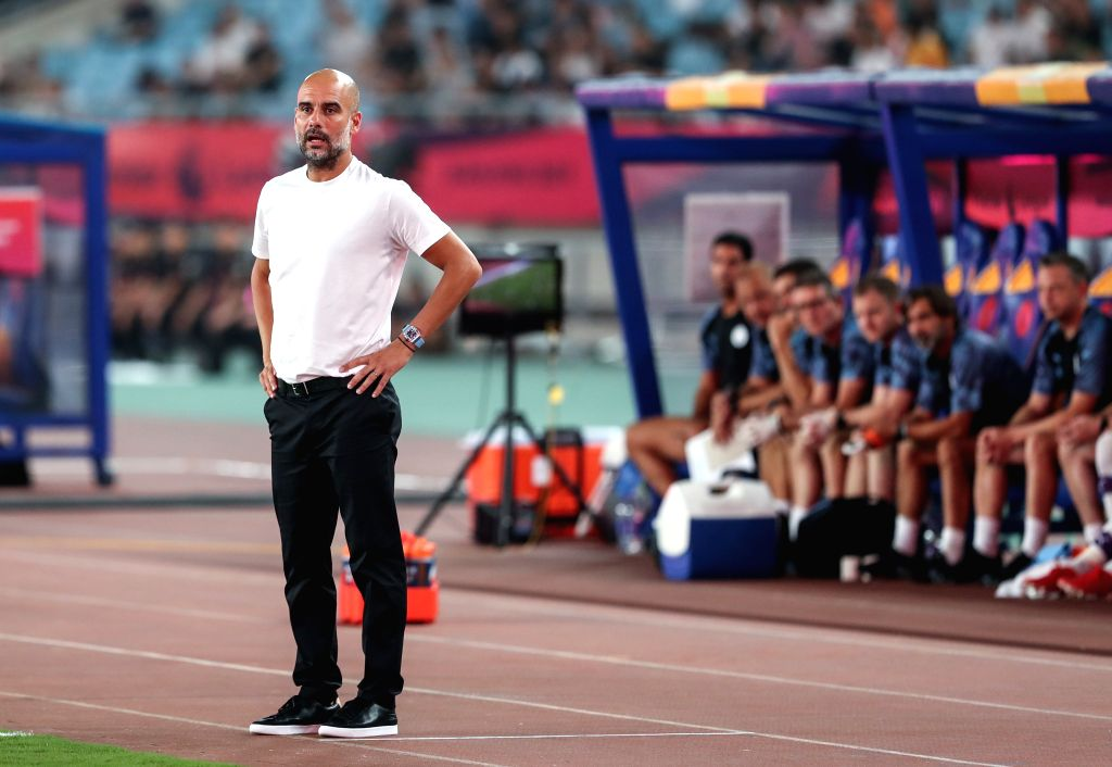 NANJING, July 17, 2019 - Head coach Pep Guardiola of Manchester City looks on during a Premier League Asia Trophy match between Manchester City and West Ham United in Nanjing of east China's Jiangsu ...