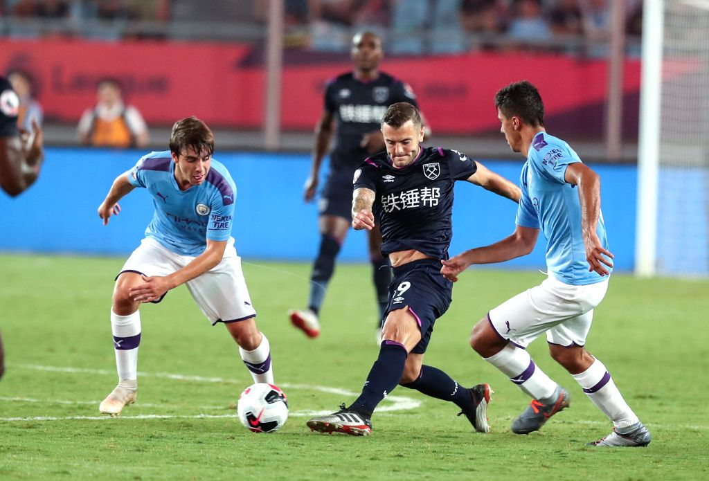 NANJING, July 17, 2019 - Jack Wilshere (2nd R) of West Ham United competes during a Premier League Asia Trophy match between Manchester City and West Ham United in Nanjing of east China's Jiangsu ...
