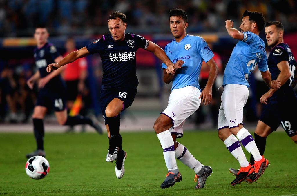 NANJING, July 17, 2019 - Mark Noble (2nd L) of West Ham United competes during a Premier League Asia Trophy match between Manchester City and West Ham United in Nanjing of east China's Jiangsu ...