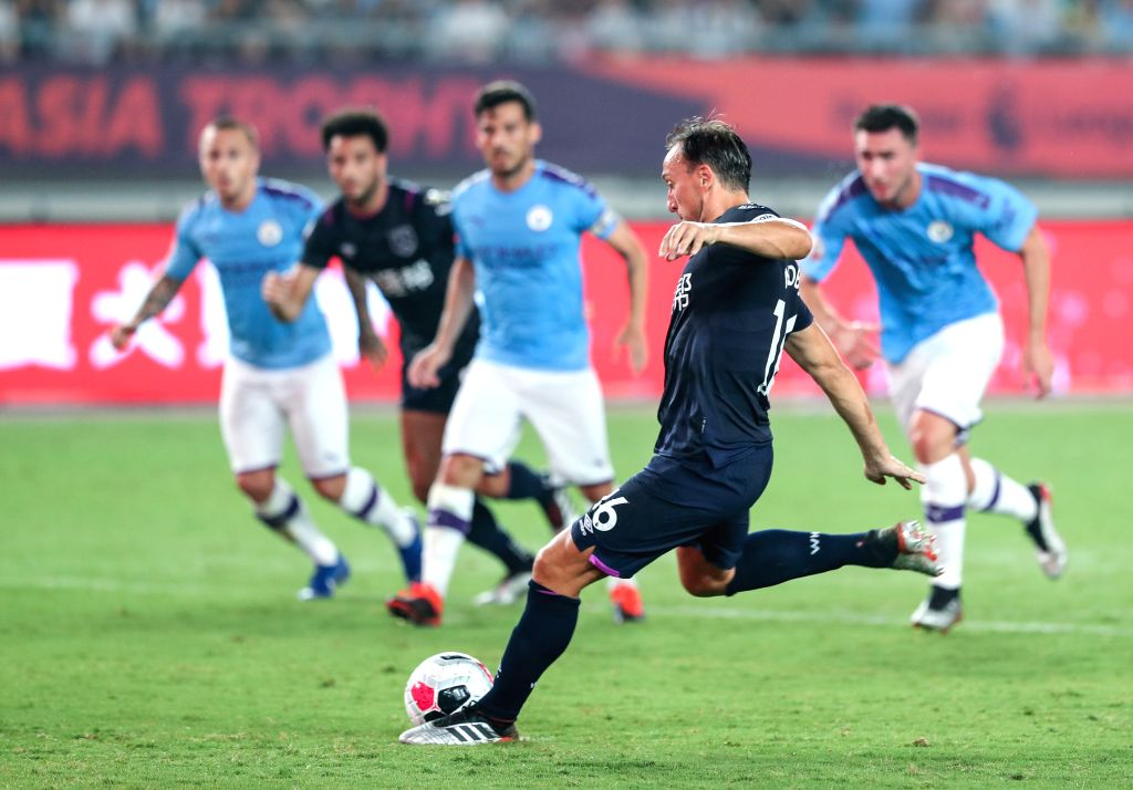 NANJING, July 17, 2019 - Mark Noble of West Ham United scores a penalty goal during a Premier League Asia Trophy match between Manchester City and West Ham United in Nanjing of east China's Jiangsu ...