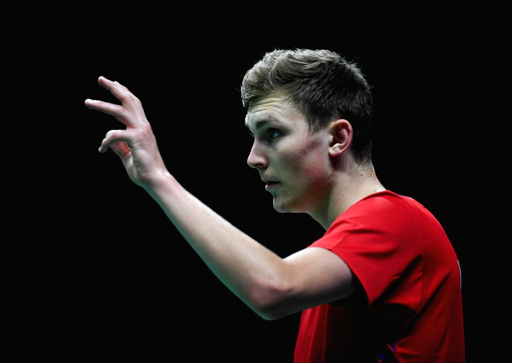 NANJING, July 30, 2018 - Viktor Axelsen of Denmark reacts during the first round match against Duarte Nuno Anjo of Portugal at the 2018 BWF World Championships in Nanjing, capital of east China's ...