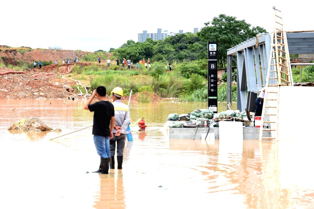NANNING, June 4, 2016 - The B exit of Baihualing station on Nanning subway Line 1 is flooded due to torrential rainfall in Nanning, capital of south China's Guangxi Zhuang Autonomous Region, June 4, ...