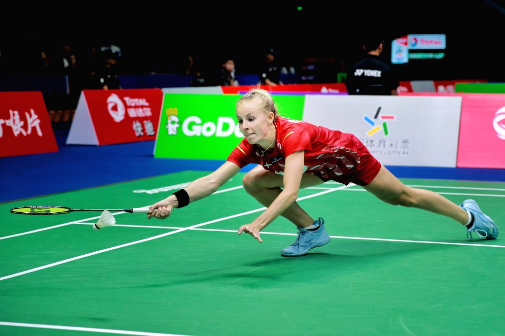 NANNING, May 21, 2019 - Mia Blichfeldt of Denmark returns the shuttle cock to Chloe Birch of England during the women's singles match in the group match between Denmark and England at TOTAL BWF ...