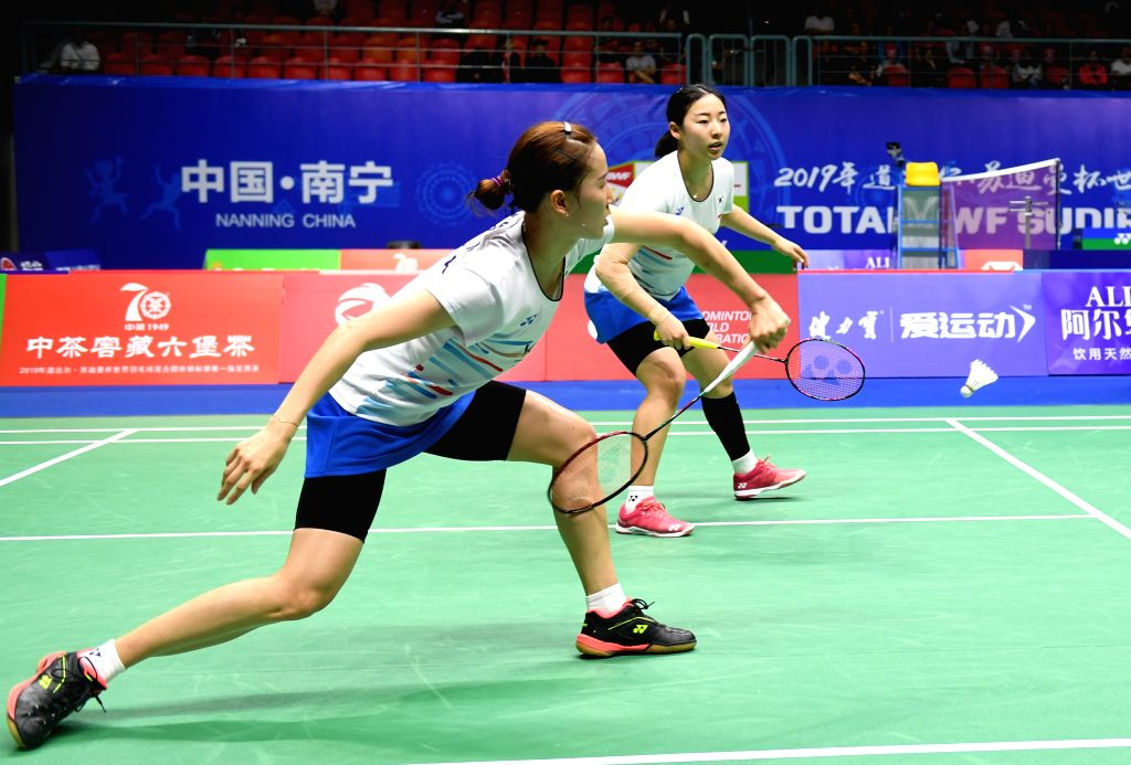 NANNING, May 22, 2019 - Chang Ye Na(L)/Kong Hee Yong of South Korea compete during the women's doubles match against Chang Ching Hui/Yang Ching Tun of Chinese Taipei in the group stage at Sudirman ...