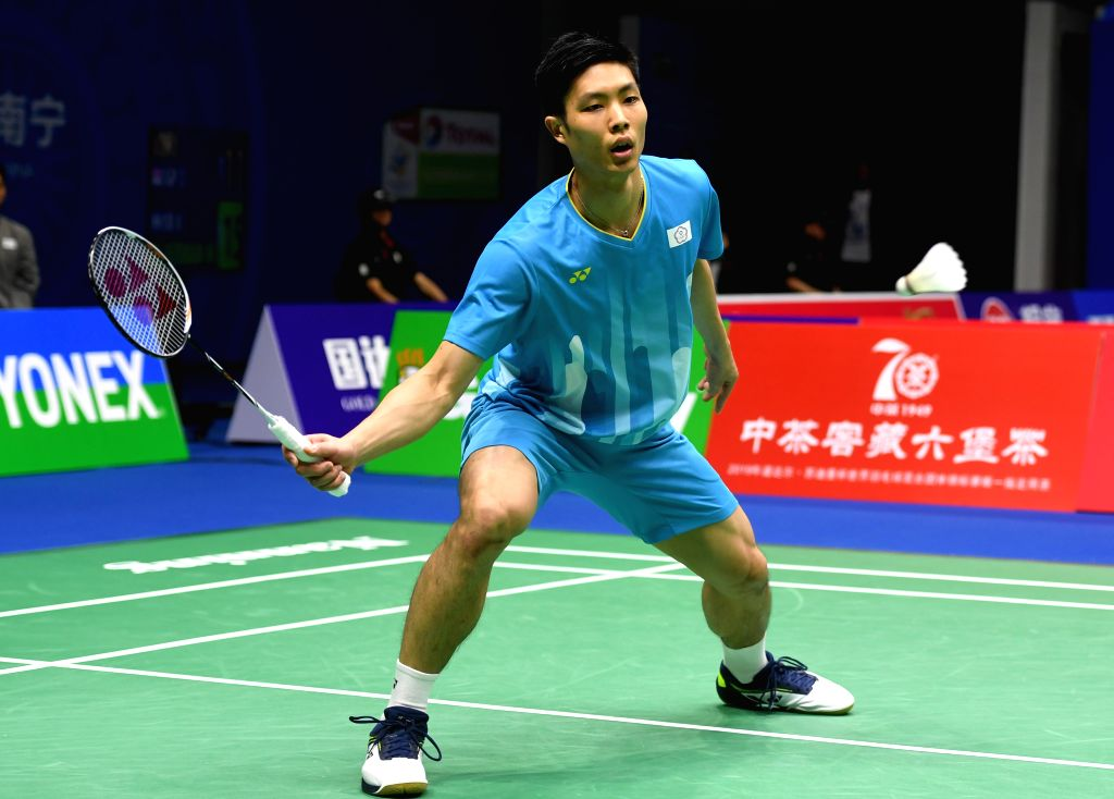 NANNING, May 22, 2019 - Chou Tien Chen of Chinese Taipei competes during the men's singles match against Lee Dong Keun of South Korea in the group match between Chinese Taipei and South Korea at ...