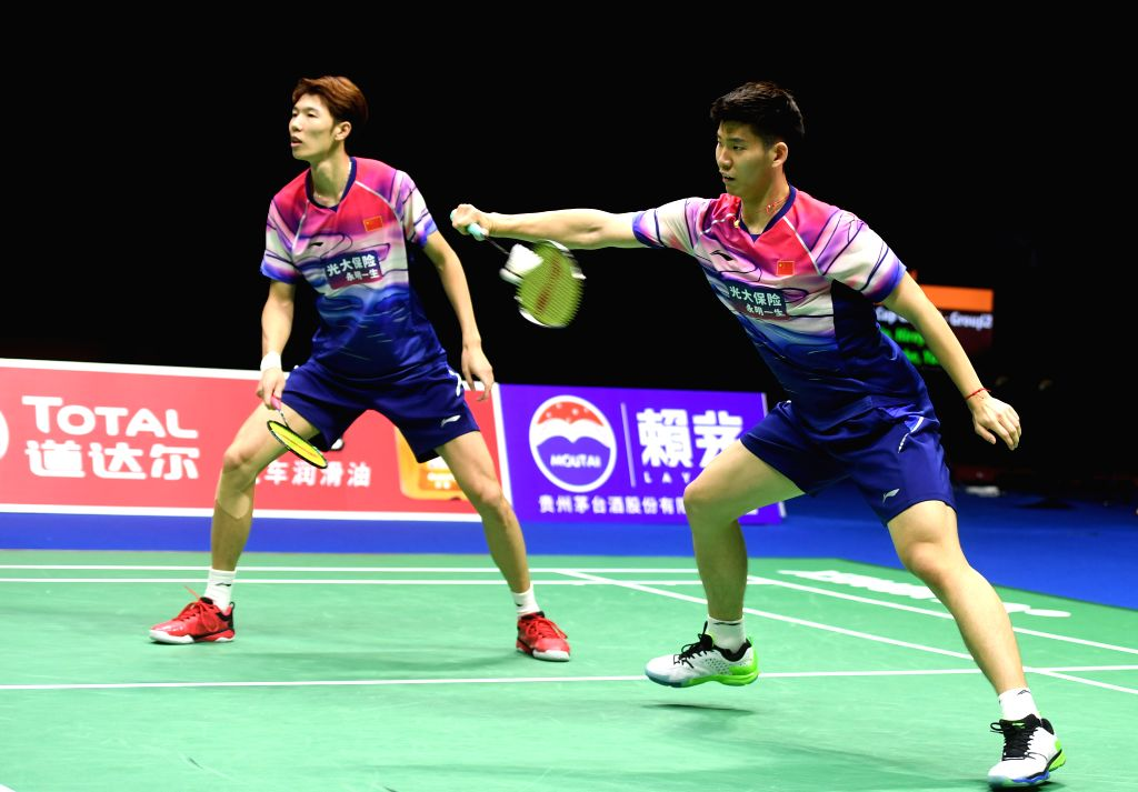 NANNING, May 25, 2019 - Li Junhui(L)/Liu Yuchen of China compete during men's doubles match against Hiroyuki Endo/Yuta Watanabe ofJapan at the final between China and Japan of Sudirman Cup 2019 in ...