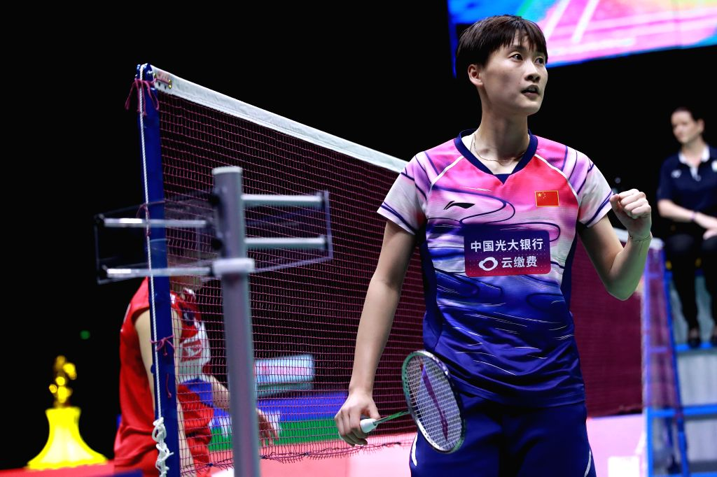 NANNING, May 26, 2019 - Chen Yufei(R) of China celebrates during women's singles match against Akane Yamaguchi of Japan at the final between China and Japan of Sudirman Cup 2019 in Nanning, capital ...