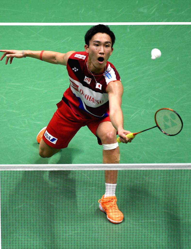 NANNING, May 26, 2019 - Momota Kento of Japan competes during men's singles match against Shi Yuqi of China at the final between China and Japan of Sudirman Cup 2019 in Nanning, capital of south ...