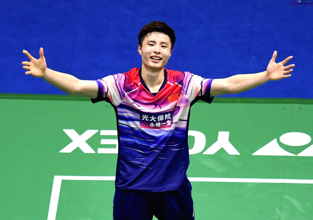 NANNING, May 26, 2019 - Shi Yuqi of China celebrates victory after winning men's singles match against Momota Kento of Japan at the final between China and Japan of Sudirman Cup 2019 in Nanning, ...