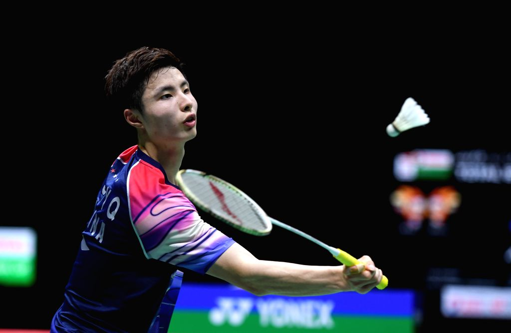 NANNING, May 26, 2019 - Shi Yuqi of China competes during men's singles match against Momota Kento of Japan at the final between China and Japan of Sudirman Cup 2019 in Nanning, capital of south ...