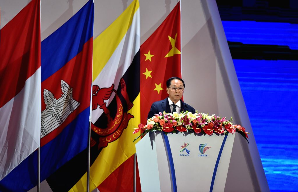 NANNING, Sept. 11, 2016 - Myanmar's Vice President U Myint Swe addresses the opening ceremony of the 13th China-ASEAN Expo and the China-ASEAN Business and Investment Summit in Nanning, capital of ...