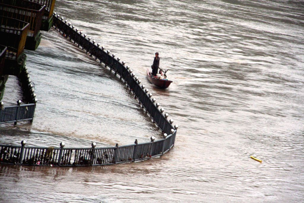 A resident rows a boat on a flooded road after a rainstorm in Shunchang County of Nanping City, southeast China's Fujian Province, July 15, 2014. A torrential ...