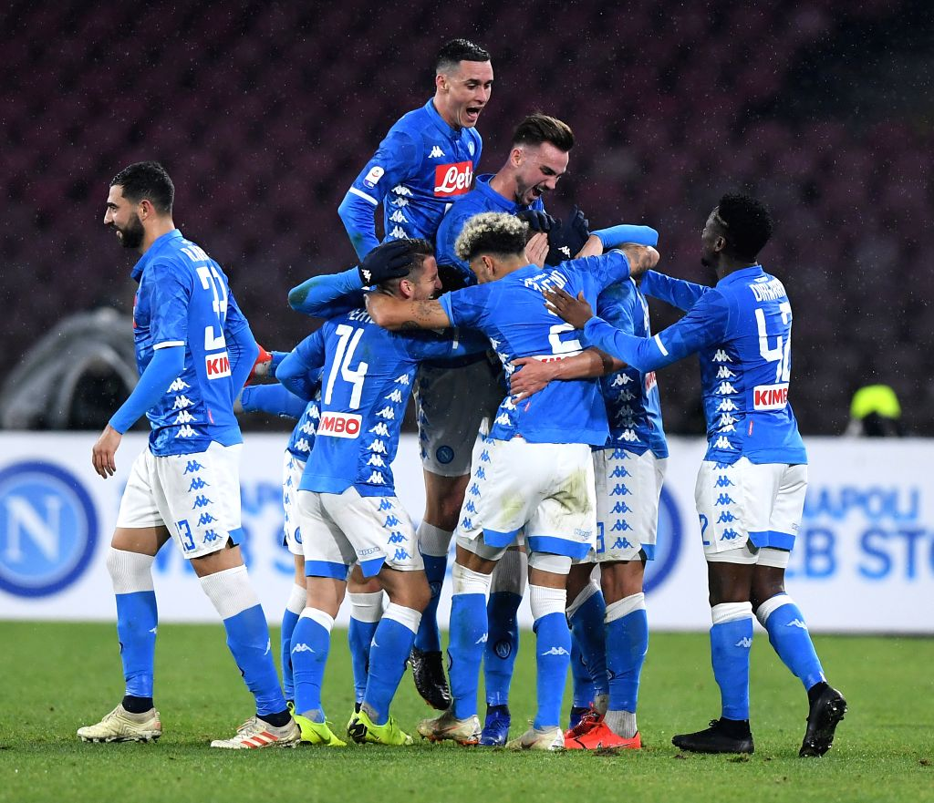 NAPLES, Jan. 21, 2019 - Napoli's Arkadiusz Milik (2nd R) celebrates his goal with his teammates during a Serie A soccer match between Napoli and Lazio in Naples, Italy, on Jan. 20, 2019. Napoli won ...