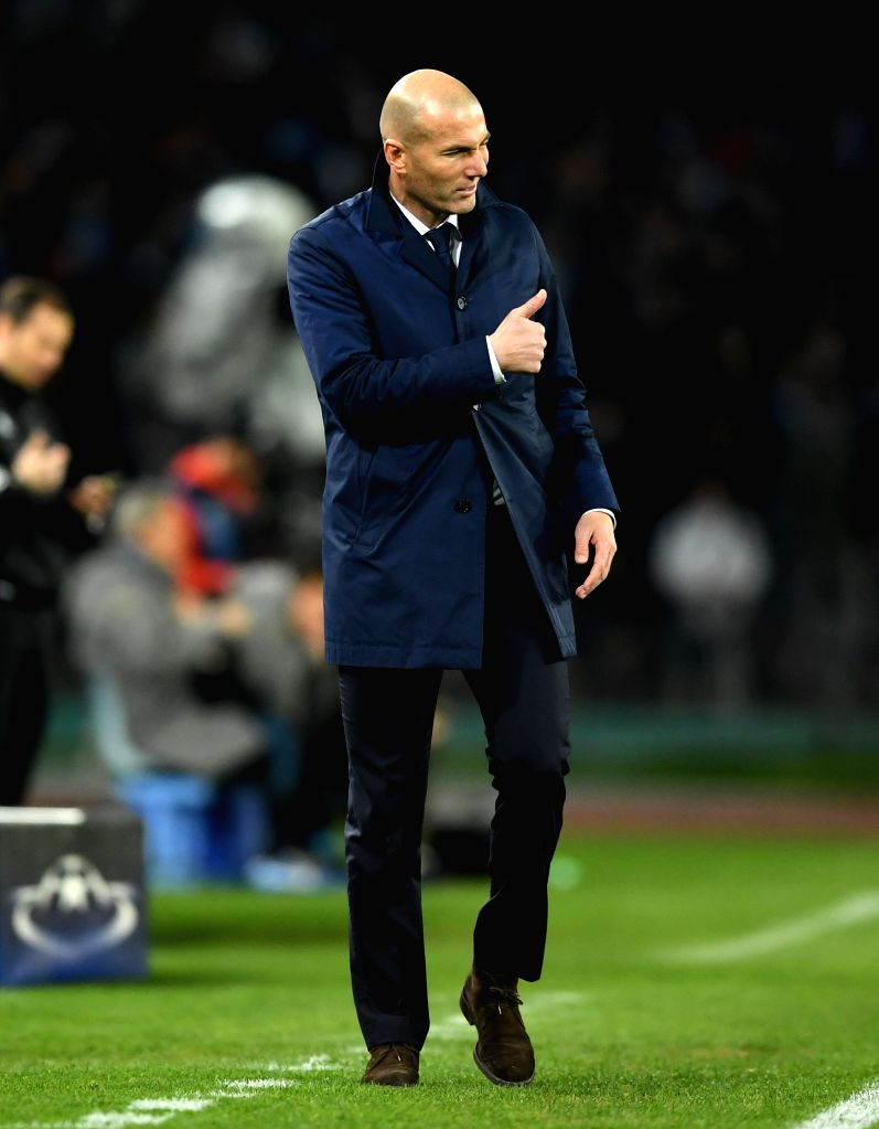 NAPLES, March 8, 2017 - Zinedine Zidane, head coach of Real Madrid gestures during the UEFA Champions League Round of 16 second leg match between Napoli and Real Madrid in Naples, Italy, March 7, ...