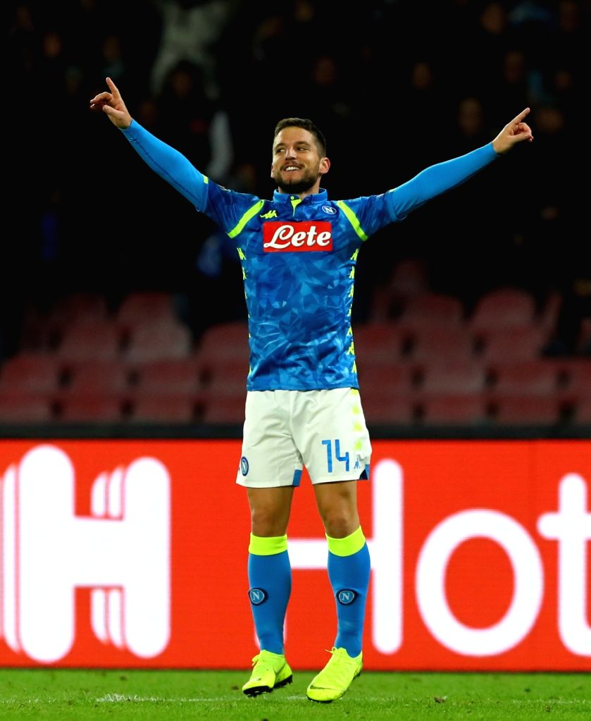 NAPLES, Nov. 29, 2018 - Napoli's Dries Mertens celebrates his goal during the UEFA Champions League Group C match between Napoli and Red Star Belgrade in Naples, Italy, Nov. 28, 2018. Napoli won 3-1.