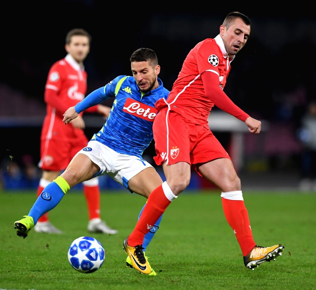 NAPLES, Nov. 29, 2018 - Napoli's Dries Mertens (L) vies with Red Star's Nenad Krsticic during the UEFA Champions League Group C match between Napoli and Red Star Belgrade in Naples, Italy, Nov. 28, ...