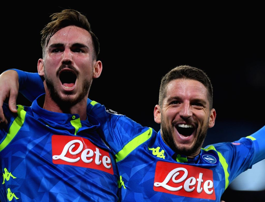 NAPLES, Nov. 29, 2018 - Napoli's Dries Mertens (R) celebrates with his teammate Fabian Ruiz during the UEFA Champions League Group C match between Napoli and Red Star Belgrade in Naples, Italy, Nov. ...