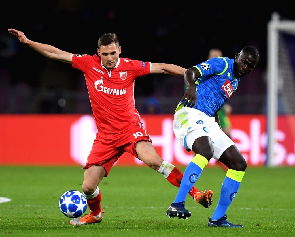 NAPLES, Nov. 29, 2018 - Napoli's Kalidou Koulibaly (R) vies with Red Star's Nikola Stoilikovic during the UEFA Champions League Group C match between Napoli and Red Star Belgrade in Naples, Italy, ...