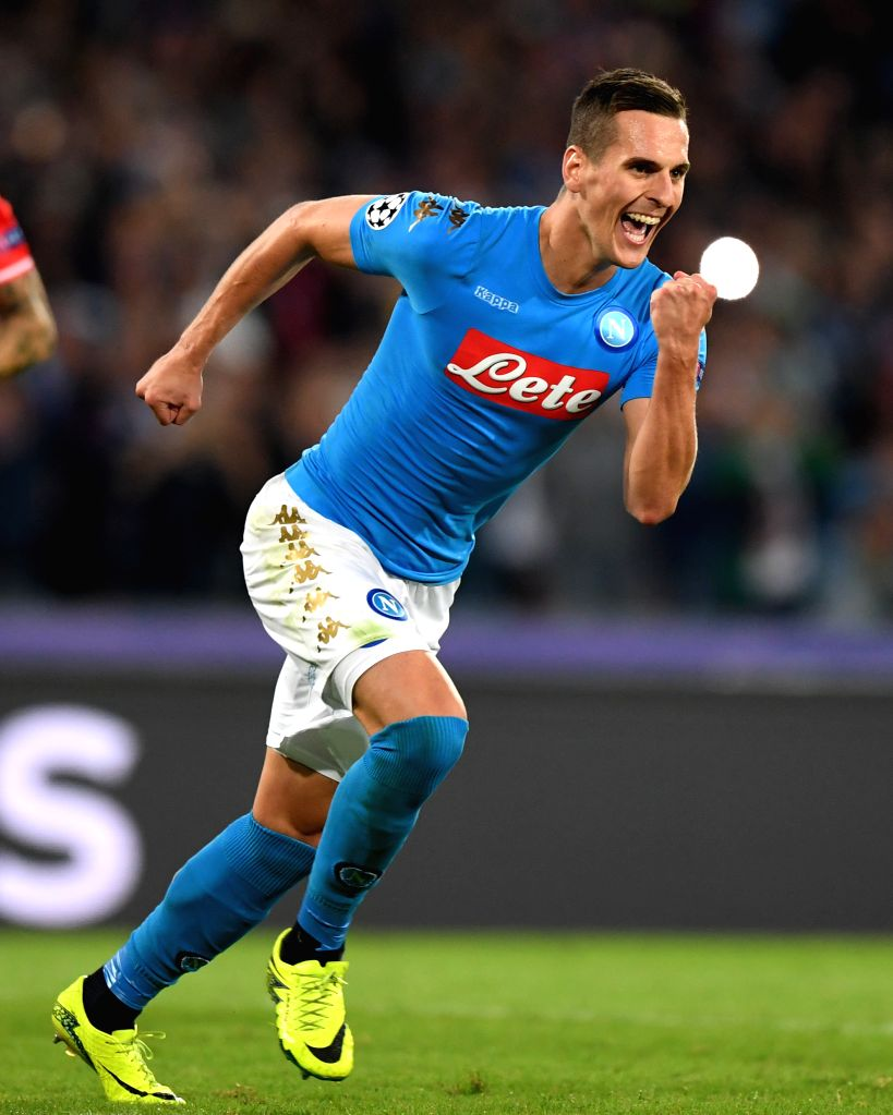 NAPLES, Sept. 29, 2016 - Napoli's Arkadiusz Milik celebrates scoring during the UEFA Champions League Group B match against Benfica in Naples, Italy, Sept. 28, 2016. Napoli won the match 4-2.