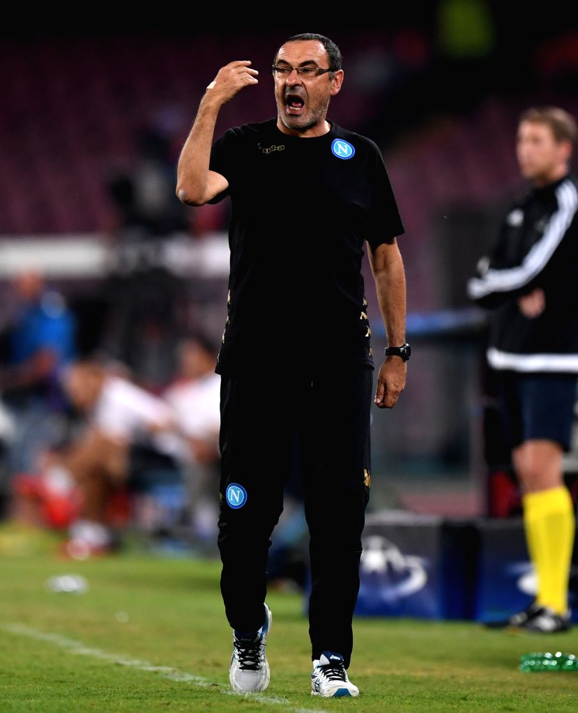 NAPLES, Sept. 29, 2016 - Napoli's headcoach Maurizio Sarri gestures during the UEFA Champions League Group B match against Benfica in Naples, Italy, Sept. 28, 2016. Napoli won the match 4-2.
