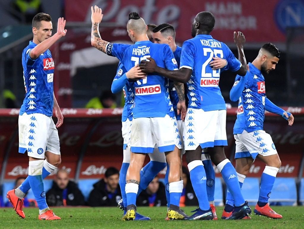 NAPOLI, Feb. 3, 2019 - Napoli's Arkadiusz Milik (L) celebrates his goal during the Italian Serie A soccer match between Napoli and Sampdoria in Napoli, Italy, Feb. 2 , 2019.