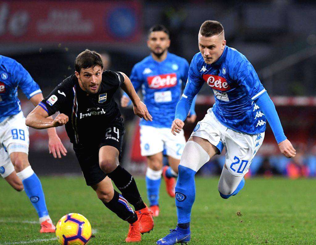 NAPOLI, Feb. 3, 2019 - Napoli's Piotr Zielinski (R) vies with Sampdoria's Bartosz Bereszynski during the Italian Serie A soccer match between Napoli and Sampdoria in Napoli, Italy, Feb. 2 , 2019.