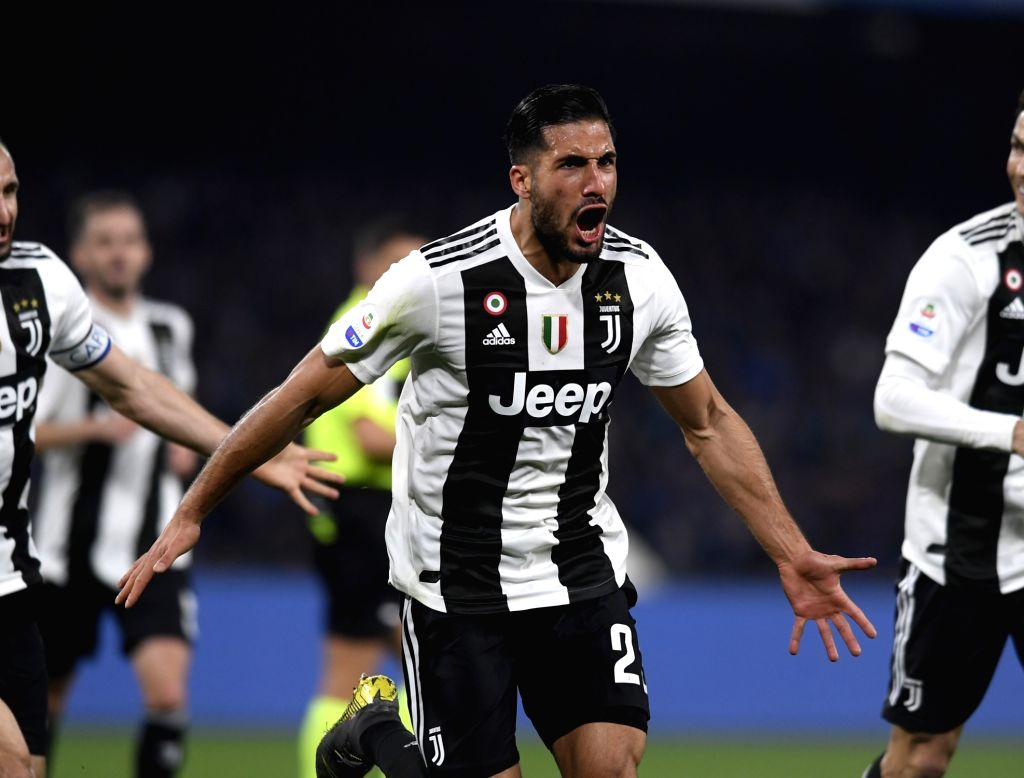 NAPOLI, March 4, 2019 - Juventus's Emre Can (front) celebrates his goal during a Serie A soccer match between Napoli and Juventus in Napoli, Italy, March 3, 2019. Juventus won 2-1.