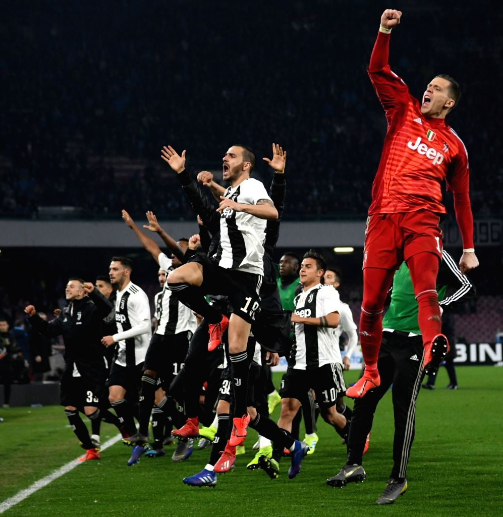 NAPOLI, March 4, 2019 - Juventus's players celebrate at the end of a Serie A soccer match between Napoli and Juventus in Napoli, Italy, March 3, 2019. Juventus won 2-1.